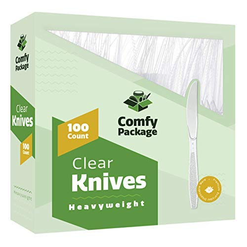 [100 Pack] Heavyweight Disposable Clear Plastic Knives
