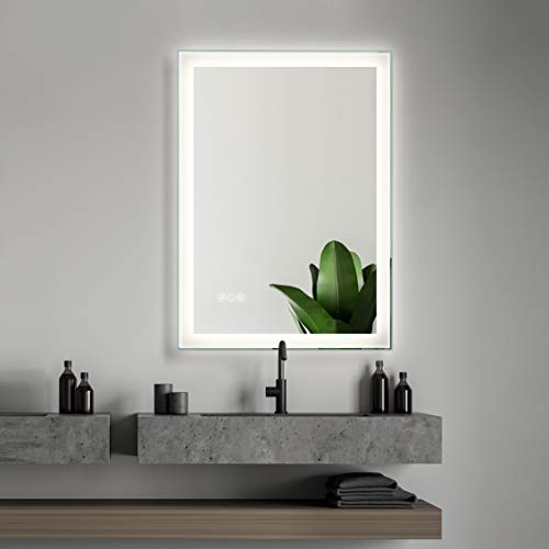 "SMART COOM LED Lighted Bathroom Wall Mounted Mirror Makeup Vanity 3000K High Lumen CRI90 Warm White Lights Anti Fog Dimmable Memory Touch Button IP54 Waterproof Vertical Horizontal (24""×32"")"
