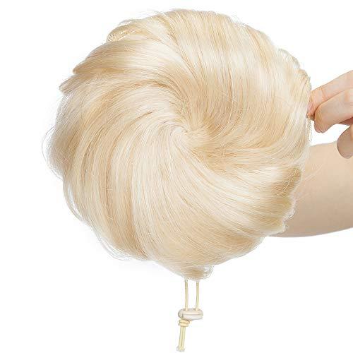 Chignon Postiche Cheveux Naturels Extension a Clip Scrunchie Updos Chouchou Ponytail Queue de Cheval Rajout a Froid Volumateur Messy Hairpiece - Wavy 60#Blond Platine