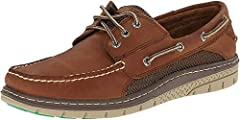 Classic boat shoe featuring slotted collar and moccasin stitching at toe Contrasting non-marking outsole with razor-cut texturing