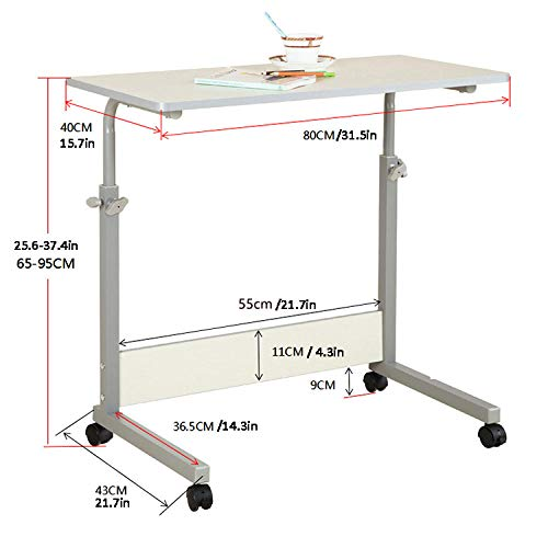 Steel Pipe Overbed Desk with White MDF,Lockable Casters, Adjustable Height,Fold Down Table for Hospital Home Use