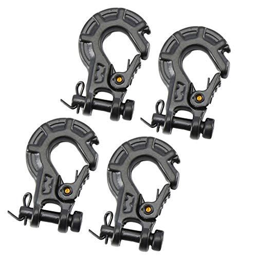 Milageto 4X Black Metal Anhängerhaken Windenhaken für 1/10 TRX4 RC Crawler Autoteile