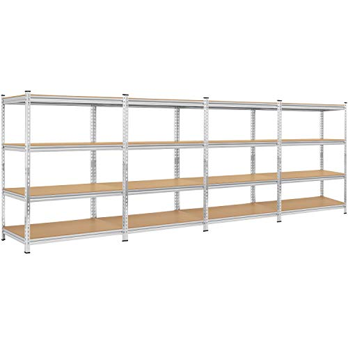 Simple Deluxe Heavy Duty 4-Shelf Shelving Unit with Wheels and Adjustable Feet,18 x 12 x 41 Inch, 4 Tier,Black