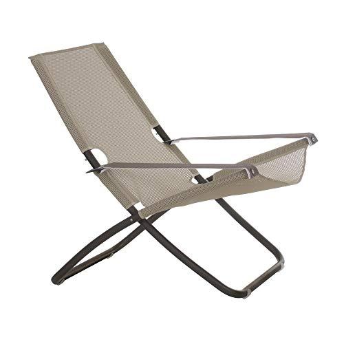 Snooze Liegestuhl, beige indisch braun Sitzfläche EMU-Tex beige BxHxT 75x105x91cm Gestell Stahl indisch braun klappbar