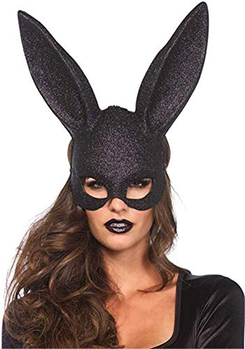 Ulalaza Dames Bunny Mask Kostuum Black Rabbit Half Masker voor Pasen Maskerade Accessoires Eén maat Zwarte glitter.