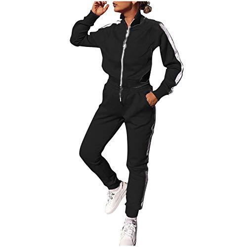 Lazzboy Jogginganzug Frauen Solid Patchwork Reißverschluss Cardigan Sportswear 2pc Loungewear Damen Anzug Sets Trainingsanzug Sportanzug Hose Jacke Streetwear ( Schwarz,M )
