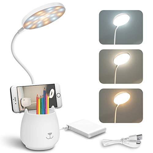 BelonLink LED Schreibtischlampe, Dreifarbig Dimmbar, Nachttischlampe mit Stifthalter Schwanenhals, Telefonhalter, Tischleuchte mit Touch-Schalter, Augenschutz Leselampe für Kinder Erwachsene Weiß