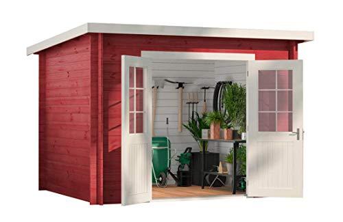 CARLSSON Alpholz Gartenhaus Maria aus Massiv-Holz | Gerätehaus mit 28 mm Wandstärke | Garten Holzhaus inklusive Montagematerial | Geräteschuppen Größe: 300 x 250 cm | Pultdach