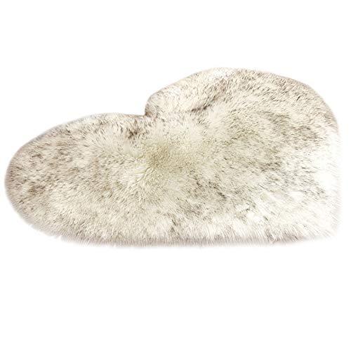 NIBESSER Love Heart Rugs Alfombra de lana artificial de piel de oveja, alfombra peluda, alfombra de piso de imitación de piel lisa, mullida, suave para dormitorio, sofá (blanco con negro, 70 x 90 cm)