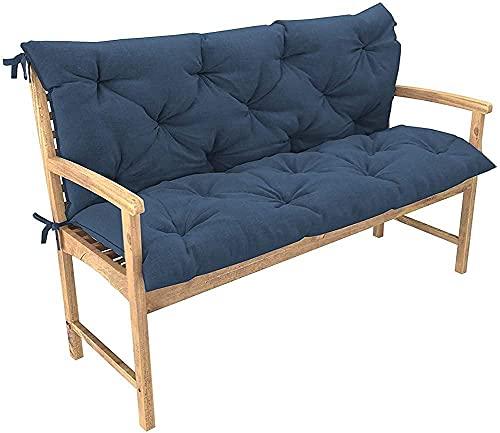 XRDSHY Cojín extra grueso para banco de jardín con respaldo, cojín cómodo para asiento de 2 a 3 plazas, colchón para exteriores, hamaca reclinable, patio, azul marino 120 x 50 x 50 cm