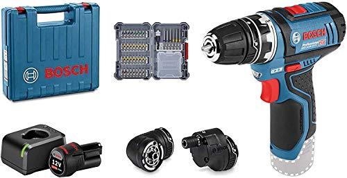 Bosch Professional System Atornillador GSR 12V-15 FC, Incluye batería de 1x2.0 Ah, Cargador rápido, 3X portabrocas, 40 pcs. Juego de Accesorios, en maletín, Amazon Edición, 12 V, Multicolor