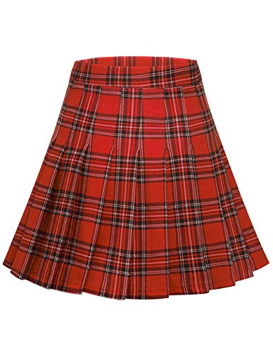MuaDress 9005 Jupe Femme Patineuse à Carreaux pour Ecole Party Vacances Mini Jupe Klit Ecossais Haute Taille Carreaux Rouge L