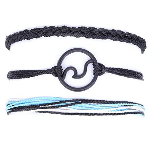 arsvita Surfer Wave Bracelet, Adjustable Friendship Bracelet for Women, Handcrafted Braided Rope.