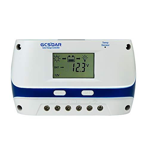 GCSOAR 60A Solar Charge Controller 12V 24V 48V Auto Work PWM Solar Panel Charger Regulator LCD Display Adjustable Parameter (60A, 12V/24V/48V)