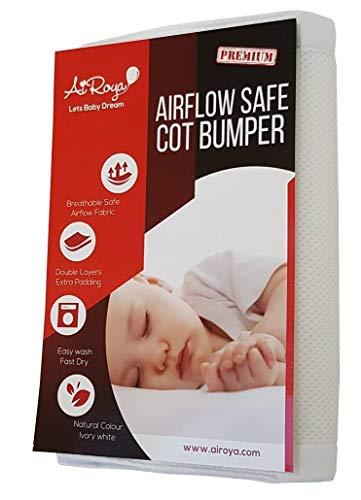 Airoya Hochwertiger Umrandungsschutz für zweiseitige Kinderbetten, doppelschichtig für extra Polsterung, ideal für massive Babybetten mit Lattenrost am Ende, atmungsaktiv