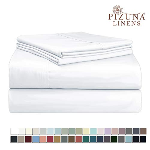 Pizuna 400 Thread Count Queen Cotton Sheets Set White, 100% Long Staple Cotton Sheet Set, Soft Cotton Bed Sheets Deep Pocket fit Upto 15 inch (White Queen 100% Cotton Sheets)