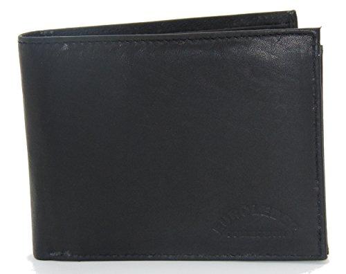 Edle Geldbörse - Echtes Leder - Geldbeutel im Querformat schwarz - Das Original mit der Prägung