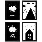 Nacnic Set de 4 láminas 'Casita, luna, montañas y nube con corazones'. Posters de animales. Tamaño A3 sin marco
