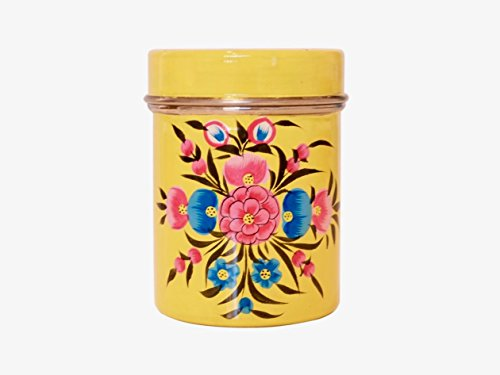 Vintage shabby chic style beautiful enamel coffee tin/tea tin/tea canister/kitchen storage holder with lid (Yellow)