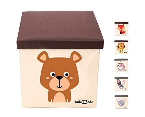 little Babo Kinder Aufbewahrungsbox I Spielzeugkiste mit Deckel für Kinderzimmer I Spielzeug Box (33x33x33) zur Aufbewahrung im Kallax Regal I faltbar, groß und stabil zum sitzen – Tiermotiv Bär