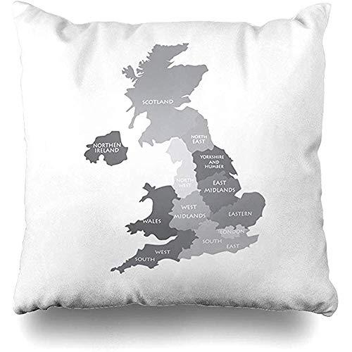 Transpirable Funda De Almohada - Región Mapa Gris Reino Unido Geografía Condado Reino Unido Inglaterra Esquema Diseño Sur Atlas Cojín Cuadrado Sofá Funda De Almohada 45 X 45 Cm Decoración Para El