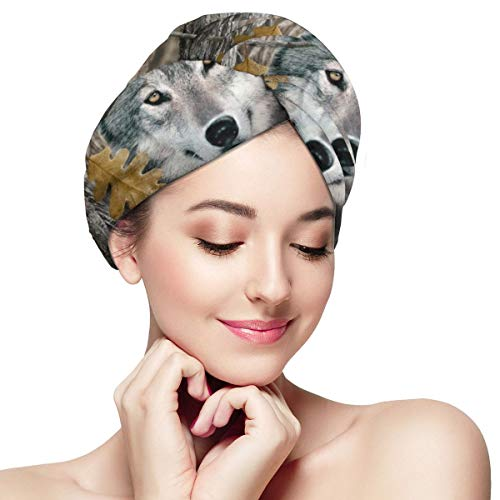 Camouflage Camo Wolf Cool Microfiber Dry Hair Cap for Bath Spa Soft Super Absorbent Quick Drying Towel Wrap Wet Hair Turbans 28 inch X 11 inch