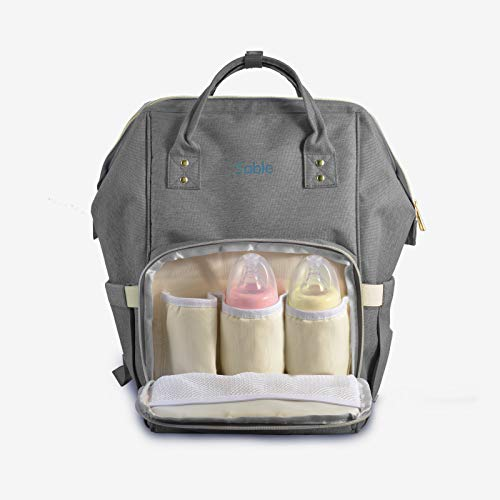 Sable Baby Wickelrucksack, wasserfeste Multifunktions-Wickeltasche mit Abnehmbarer Wechselunterlage, Mama Rucksack Windeltasche Babytasche Reisetasche für Babypflege und Reisen, Grau