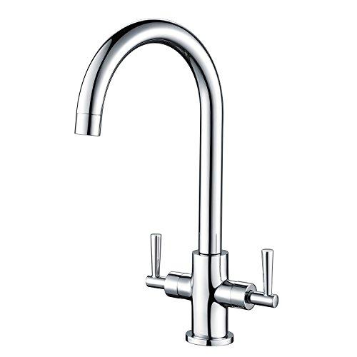Hapilife Kitchen Sink Mixer Taps Monobloc Dual Lever Chrome Brass...