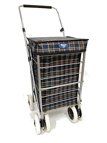Einkaufstrolley mit 6 Rädern, stabil, für Reisen, Markt, Spaziergänge, Schubkarre, schöne Farbe (Dark Navy, 6 Räder, 60 l)