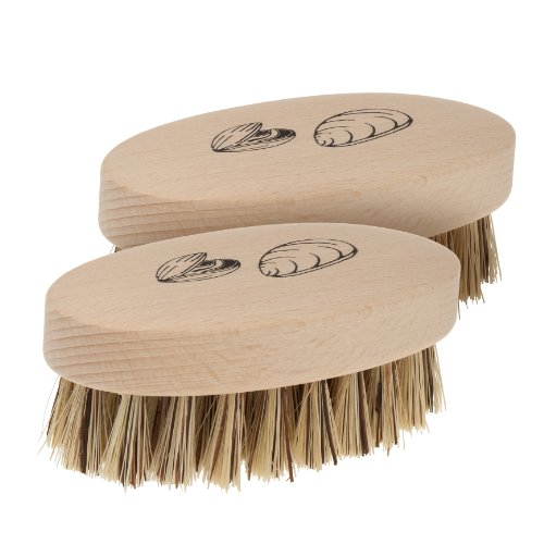 Redecker Mussel Brush with Natural Beechwood Handle, 3-3/4-Inches, Set of 2
