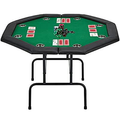 ECOTOUGE Game Poker Table w/Stainless Steel Cup Holder Casino Leisure Table, Top Texas Hold'em Poker Table for 8 Player w/Leg, Green Felt