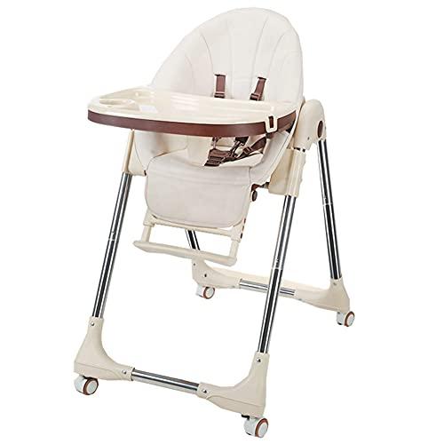 WUQIAO Trona para niños con Bandeja Doble extraíble, sillas de Comedor Ajustables para Crecer, Plegado con una tecla, Ruedas universales con Freno Adicional, fácil de Instalar
