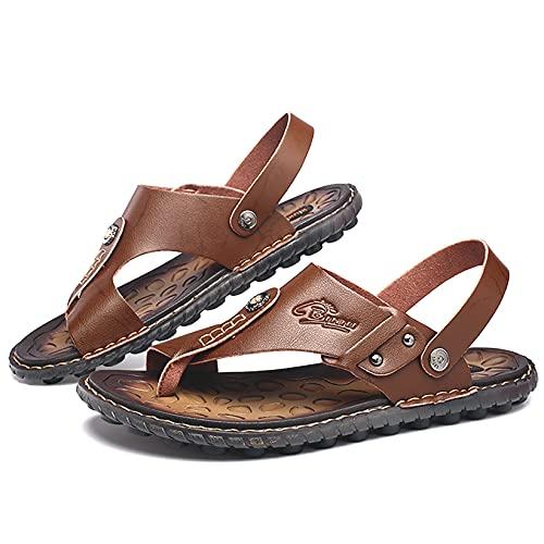 Kitlilur Men's Flip Flop Sandals, Premium Leather, Thick Sole, Non-Slip, Sweat Absorbent, Odor Resistant, Outdoor Sports, Sports Sandals, Summer Shoes, Black, Black, Brown, Khaki, Blue, 9.4 - 10.6 inches (24 - 27 cm)