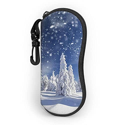 AOOEDM Funda suave para gafas de sol de invierno Bosque Hielo Nieve Mundo para las mujeres y los hombres ultra ligero neopreno cremallera gafas caso