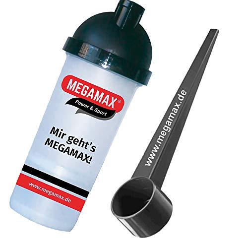 MEGAMAX Eiweiß shaker mit Pulverfach , Sieb - schwarz + Messlöffel schwarz 25 ml | Mixbecher für Proteinpulver | Dosierlöffel