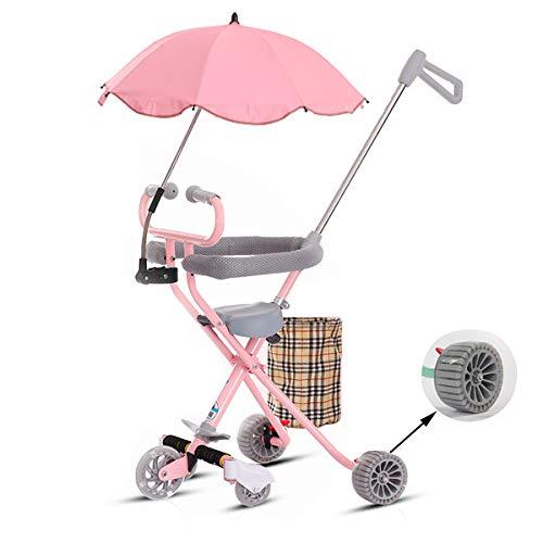 Relubby opvouwbare 5-wielige kinderwagen, opvouwbaar ontwerp kinderwagen, ultralichte eenvoudige kinderdriewieler verbrede band met paraplu