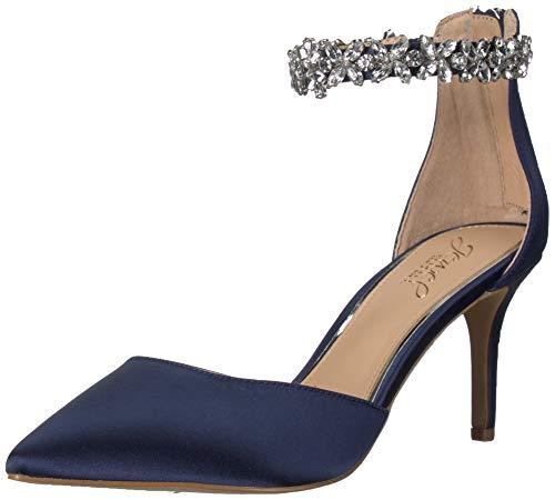 Jewel Badgley Mischka Women's Raleigh Shoe, Navy Satin, 6 M US