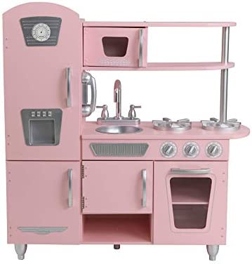 KidKraft 53179 Pink Vintage Wooden Pretend Play Toy Kitchen for Kids with Role Play Phone Included