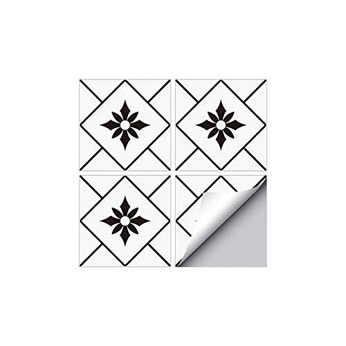 PMSMT 4 Piezas Moderno Autoadhesivo Cuadrado pelar y Pegar Antideslizante Impermeable PVC extraíble baño Cocina decoración del hogar Pegatina para baldosas de Suelo
