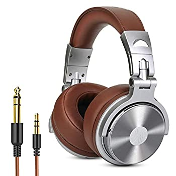 Over Ear Headphone Wired Premium Stereo Sound Headsets with 50mm Driver Foldable Comfortable Headphones with Protein Earmuffs and Shareport for Recording Monitoring Podcast PC TV- with Mic  Silver
