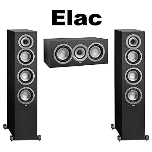 Fantastic Prices! (1 Pair) ELAC Uni-fi UF5 Floorstanding Speaker (Black, Single) + ELAC Uni-fi UC5 Center Speaker (Black, Single) Bundle