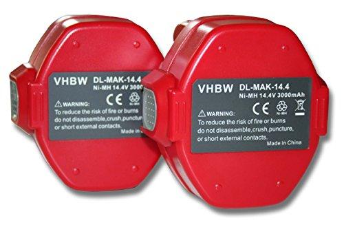 vhbw 2x Ni-MH Akku 3000mAh (14.4V) für Werkzeuge 6281, 6281D, 6281DWPE wie Makita 1420, 1422, 1422 192600-1, 192600-1.