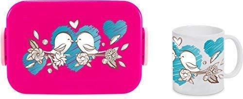 Lunch Box Rosti Mepal Neem een Break Grote Grote Doos & Beker Roze Vogel Mussen Liefde Vogel Paar