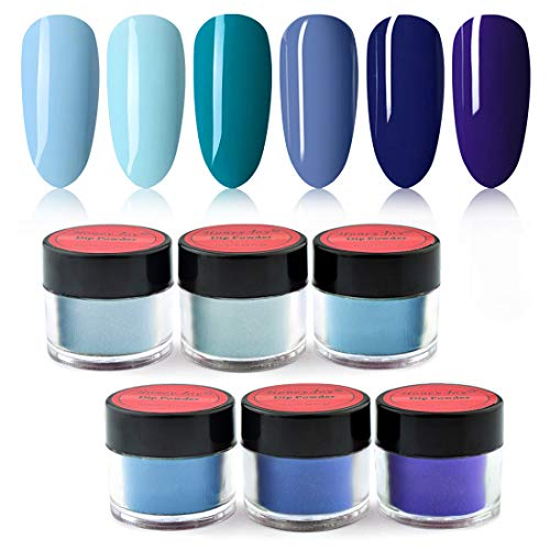 Honey Joy 6 BOX/SET Light Royal Blue Colors Dip Powder Nails Kit Nail Fine Dipping Powder Colors No Need Lamp Cure,Like Gel Polish Effect,Even & Smooth Finishing (DP-F-6pcs-10g/box)