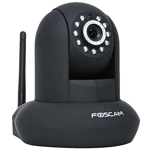 Foscam FI8910W Netzwerkkamera mit IR Cut (1/5 CMOS, 2,8mm Linse, 60° Winkel, FREE DDNS, MJPEG, 640x480 Pixel, WIFI N mit 300MBit/s, 11 IR LEDs für bis zu 8m Nachtmodus) Für MAC/Windows/Linux/Android/IPHONE schwarz