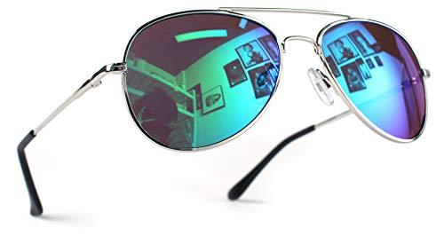 Miobo Hochwertige Pilotenbrille Fliegerbrille Sonnenbrille verspiegelt (Kinder 3-9 Jahre Alt, Silber Karibikblau)