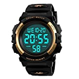 Kids Watch,Boys Watch for 6-15 Year Old Boys,Digital Sport Outdoor Multifunctional Chronograph LED 50 M Waterproof Alarm Calendar Analog Watch for Children with Silicone Band Gold