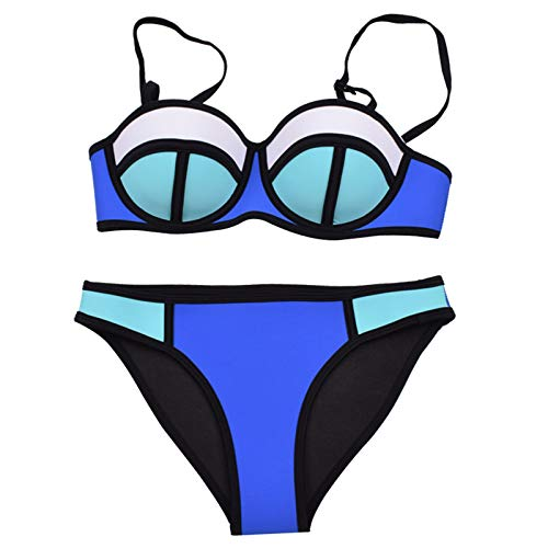 DXBFZGZ Traje de baño de Mujer Juego, Ropa Casual de Playa Sexy, Estilo Dividido de Moda, Sujetador de Acero, Fibra de Nailon, Azul y Blanco, Talla S.