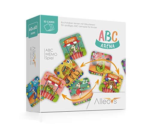 ALLEOVS® ABC-Arena - Juego de Memoria de Letras con Animales de Circo, un Juego Educativo para 1 - 6 niños de 4 años en adelante, 52 Cartas para Aprender el Alfabeto