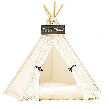 Maison et Tente pour Chat Chien Dewel Nid d'animaux Pet Maison en Toile Bois Amovible Lavable Dentelle Blanc pour Chat Chien (S)